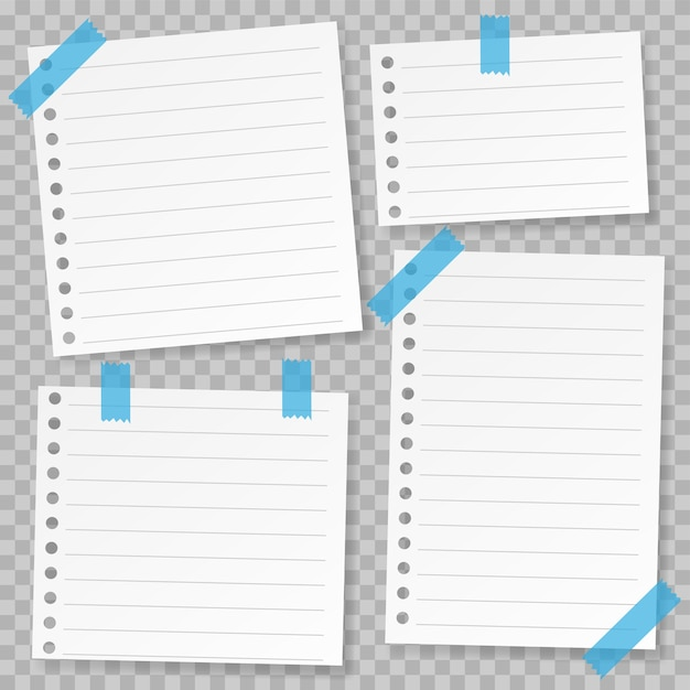 graphic about Note Paper Template named Preset of observe paper template with blue tape Vector Quality