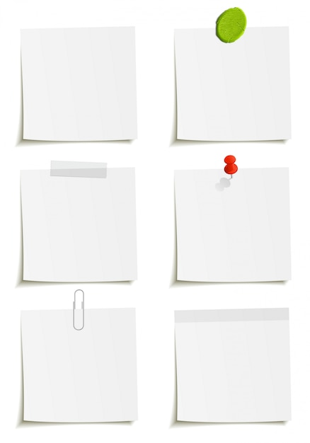 Set of notes whith clip, scotch tape, plasticine, sticker and pin attachment.  illustration  on white background. Premium Vector
