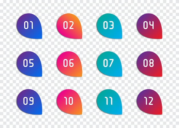 Set of number bullet point 1 to 12 Premium Vector