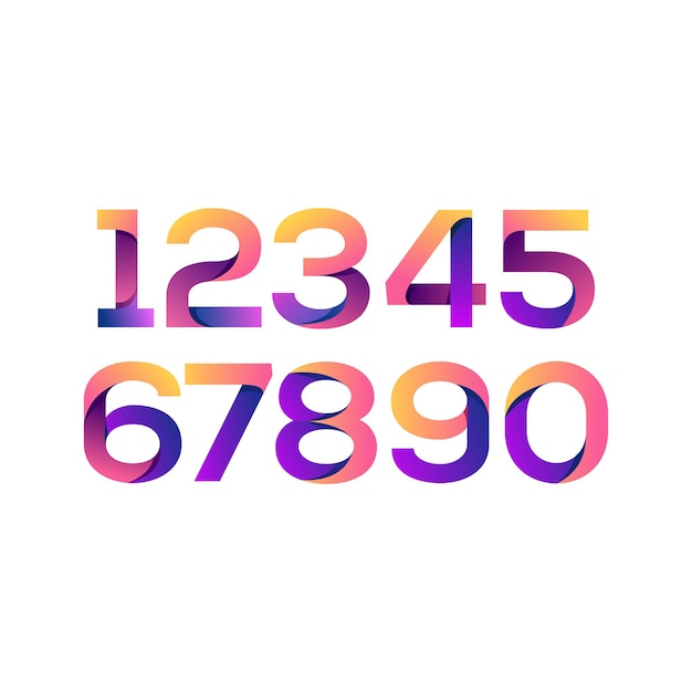 Set of number colorful gradient