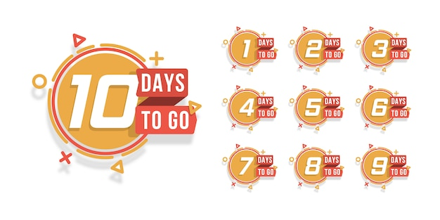 Set of number days to go countdown. countdown 1 to 10, days left label or emblem can be used for promotion, sale, landing page, template, ui, web, mobile app, poster, banner, flyer. . Premium Vector