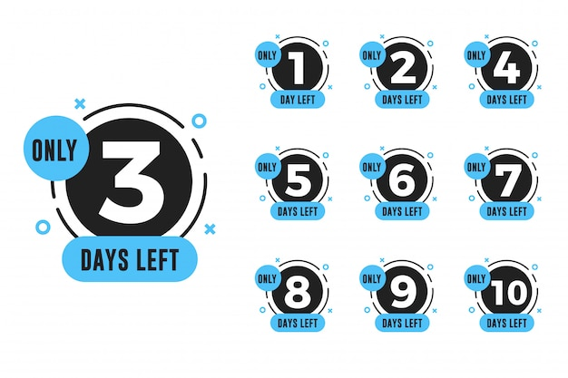 Set of number days left countdown for promotional banner Premium Vector