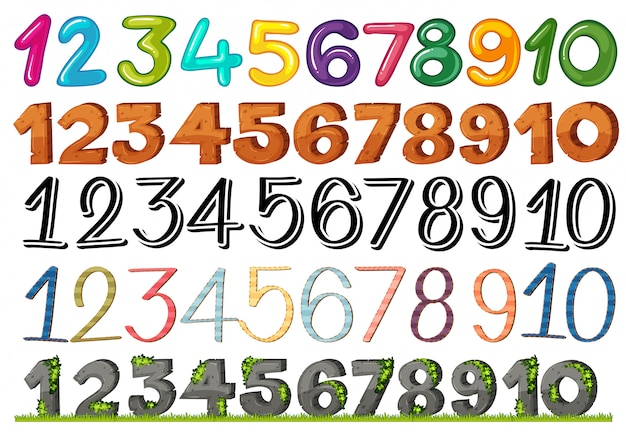 A set of numbers and fonts Free Vector