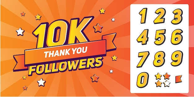 Set of numbers for thanks followers.thank you followers congratulation Premium Vector