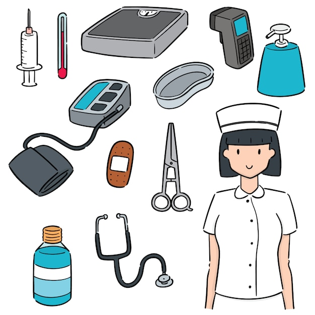 Set of nurse and medical equipment Premium Vector