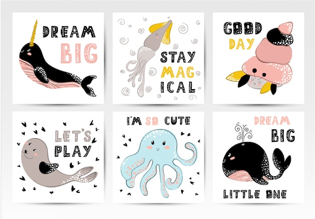 Set of nursery posters Premium Vector