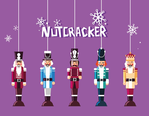 Set of nutcracker toy hanging Premium Vector