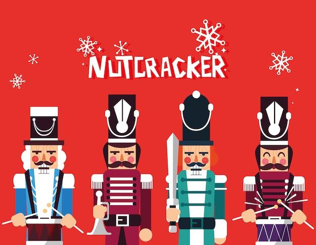 Set of nutcracker toy isolated icon Premium Vector