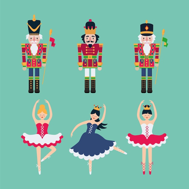Set of nutcrackers and ballerinas. Premium Vector