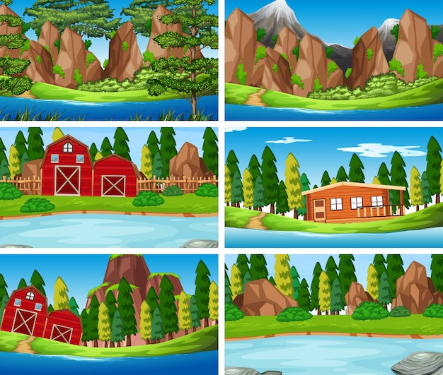 Set oa nature landscape background Free Vector