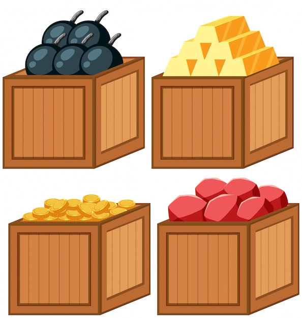Set of object in the wooden box Free Vector