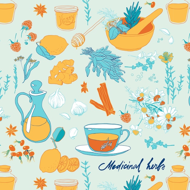 Set of objects and herbs to treat colds. seamless pattern Free Vector
