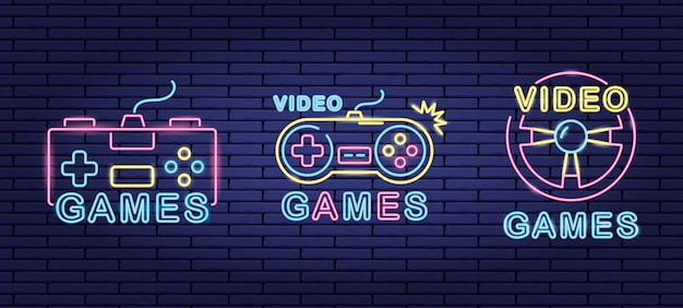 Set of objects related to video games in neon and lienal style Free Vector