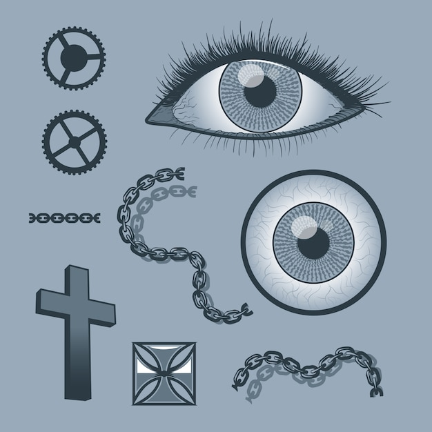 Set of objects for tattoo graphics Premium Vector
