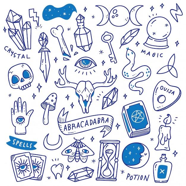 Set of occult doodles, mystical object Premium Vector