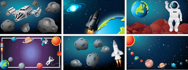 Set od space scene background Free Vector