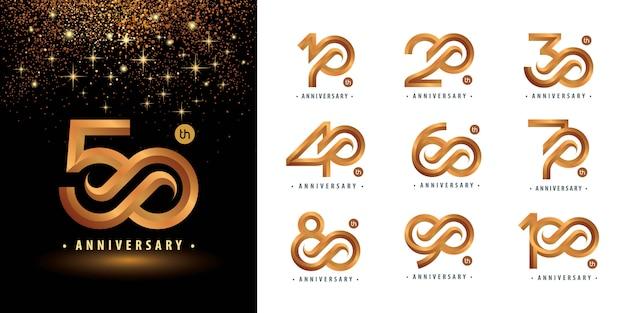 Набор от 10 до 100 лет логотипа дизайн логотипа years celebrate anniversary Premium векторы