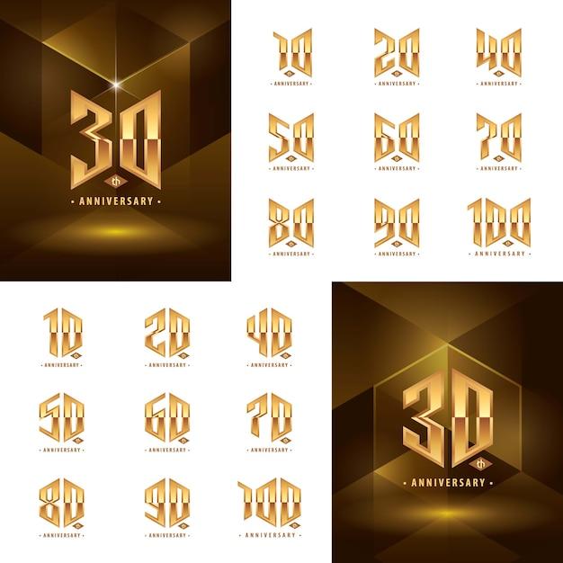 Набор дизайнов логотипов от 10 до 100 золотых годовщин Premium векторы