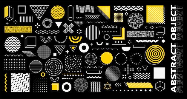 Набор из 100 геометрических фигур. мемфис дизайн, ретро элементы для веб, винтаж, реклама, коммерческий баннер, плакат, листовка, рекламный щит, продажа. коллекция модных полутоновых геометрических фигур. Premium векторы