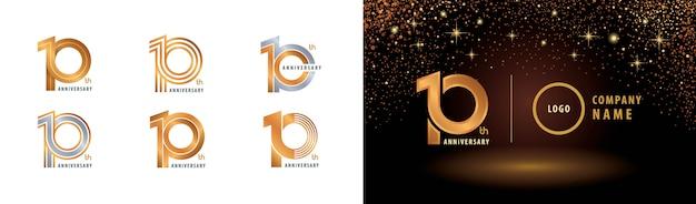 Набор дизайна логотипа 10-й годовщины, празднование 10-летия Premium векторы