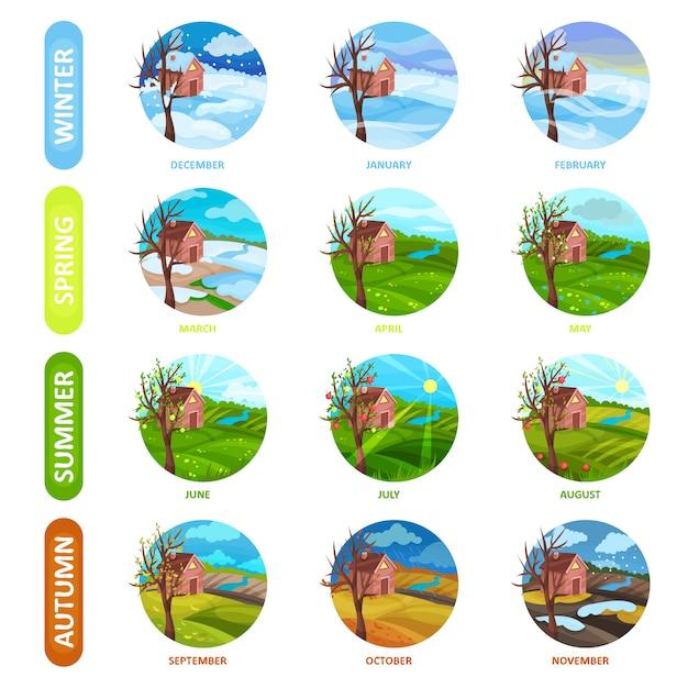 Набор 12 месяцев в году. зима, весна, лето и осень. природный ландшафт. элементы для календаря или мобильного приложения Premium векторы