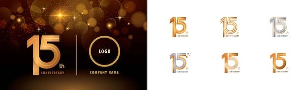 Набор дизайна логотипа 15-летия, многострочный логотип fifteen years celebrate anniversary. Premium векторы