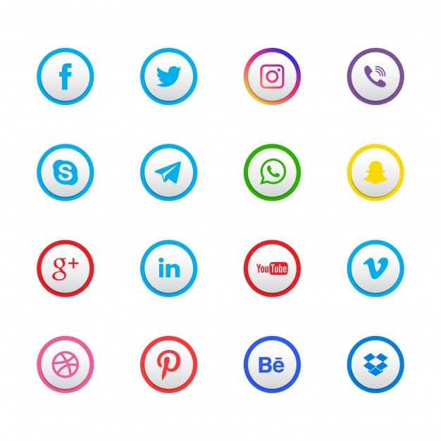 Set of 16 social network icons Free Vector