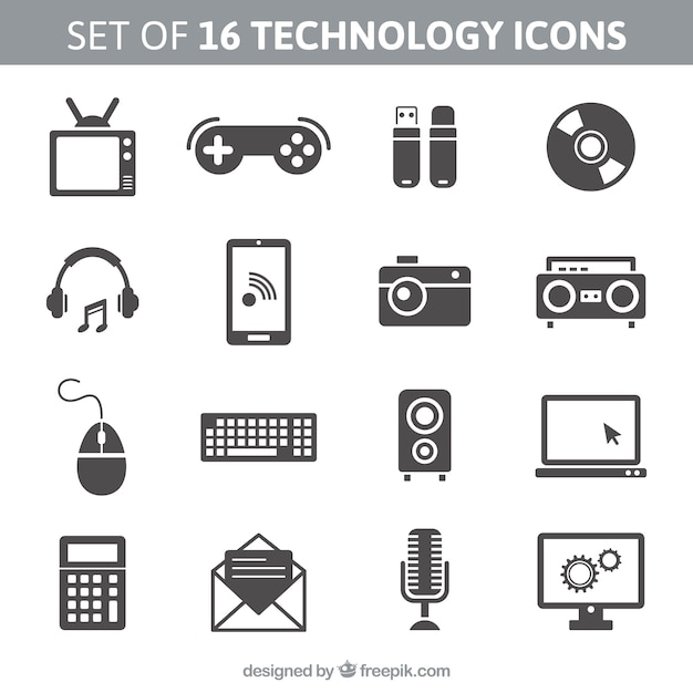 Set of 16 technology icons Free Vector