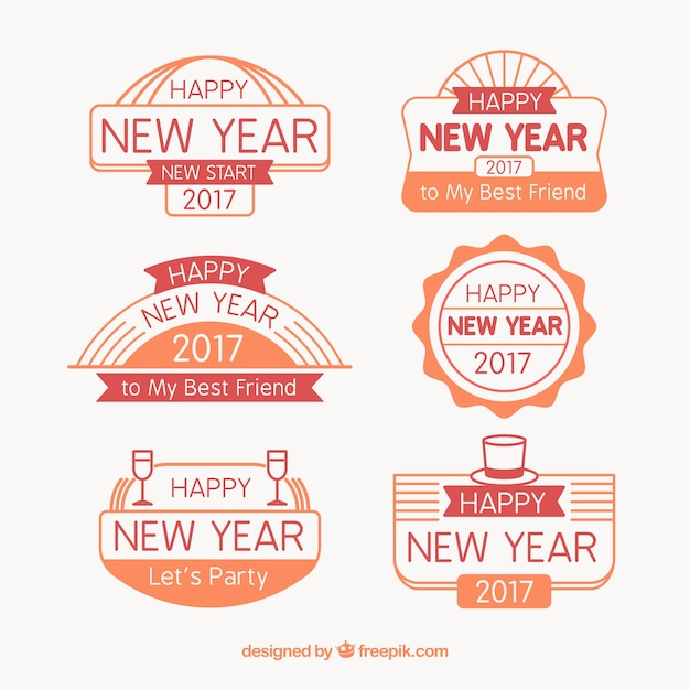 set of 2017 new year stickers with messages free vector
