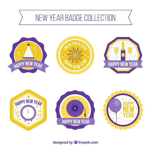 Set of 2018 new year decorative badges in flat design