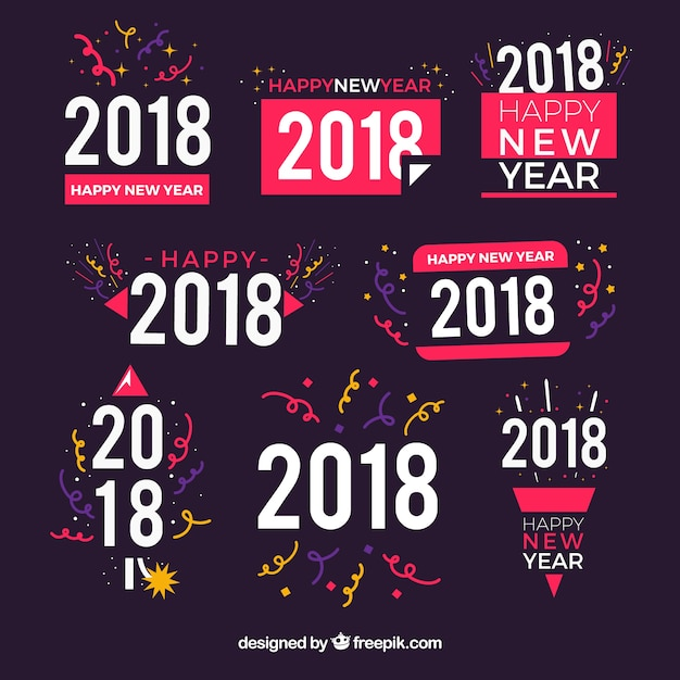 Set of 2018 new year stickers
