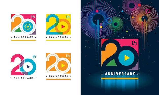 Набор красочный логотип 20-летия Premium векторы