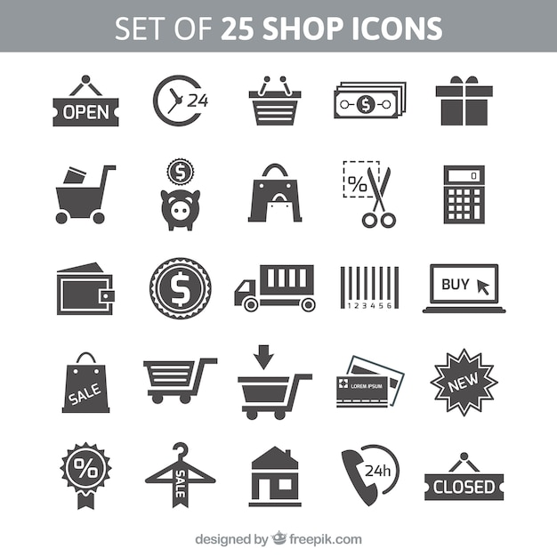 Set of 25 shop icons Free Vector