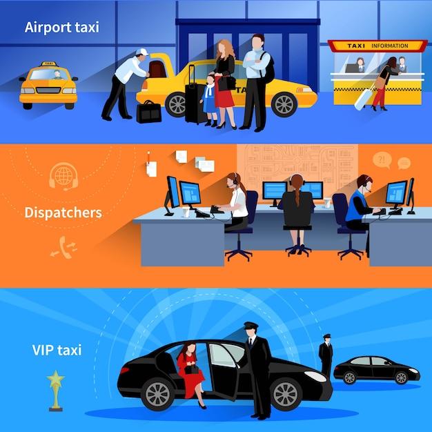 空港タクシーのディスパッチャーとvipタクシーを提示する3つの水平バナーのセット 無料ベクター