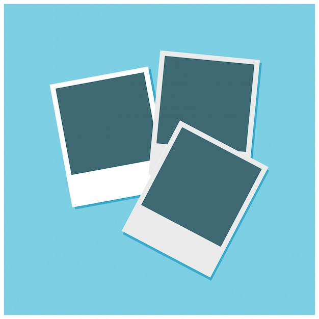 Set Of 3 Photo Frames On A Sky Blue Background Free Vector