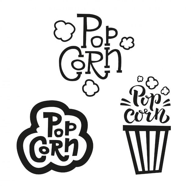 Набор из 3 попкорна текстовых меток в разных стилях. ручной обращается типографика знак. коллекция черно-белого логотипа. Premium векторы