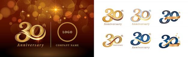 30周年記念ロゴタイプデザイン、30周年記念ロゴのセット Premiumベクター