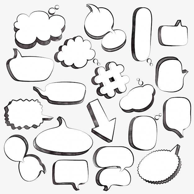 Set of 3d empty comic speech bubbles, pop art design collection. Black and white vector illustration.  Free Vector