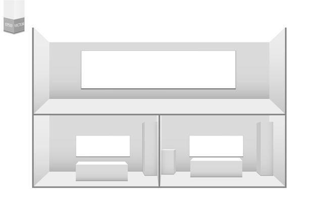 3d 전시 스탠드 세트. 책상 흰색 빈 광고 스탠드입니다. 흰색 빈 기하학적 광장. 회의실 프리젠 테이션. 빈 템플릿. 프리미엄 벡터