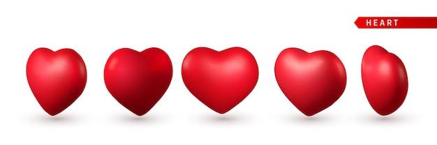 3d 레드 심장의 집합입니다. 고립 된 사랑 상징 프리미엄 벡터