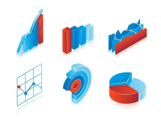 青と赤の3dベクトルグラフのセット:情報の設計要素として使用するための分析円グラフ、グラフ、棒グラフ 無料ベクター