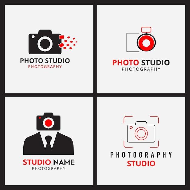 Набор из 4 векторных черно-красных значков для фотографов Бесплатные векторы