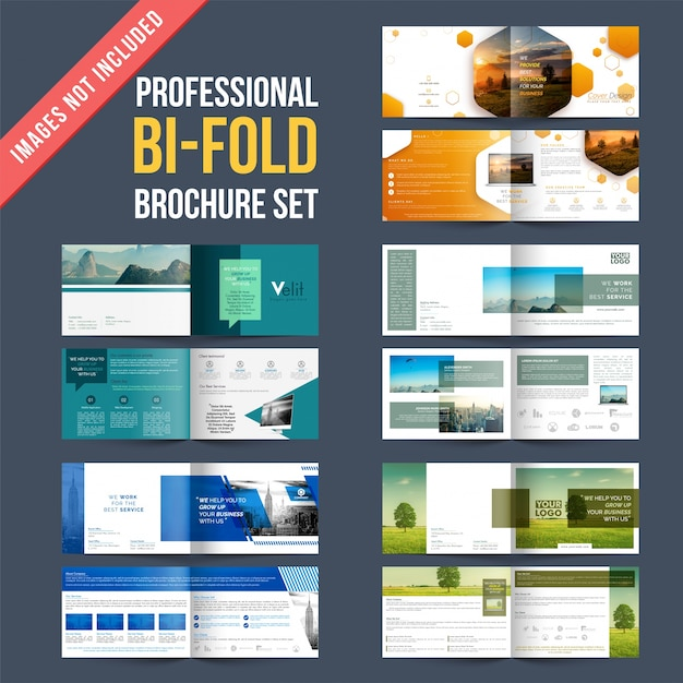 set of 4 brochures designs with four pages designs template vector