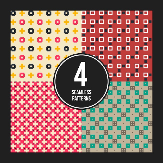 Set of 4 colorful pixelated patterns. Premium Vector
