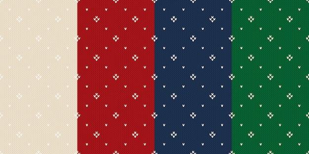 4 겨울 휴가 니트 패턴의 집합입니다. 베이지 색, 빨간색, 파란색 및 녹색 크리스마스 뜨개질 완벽 한 배경. 프리미엄 벡터