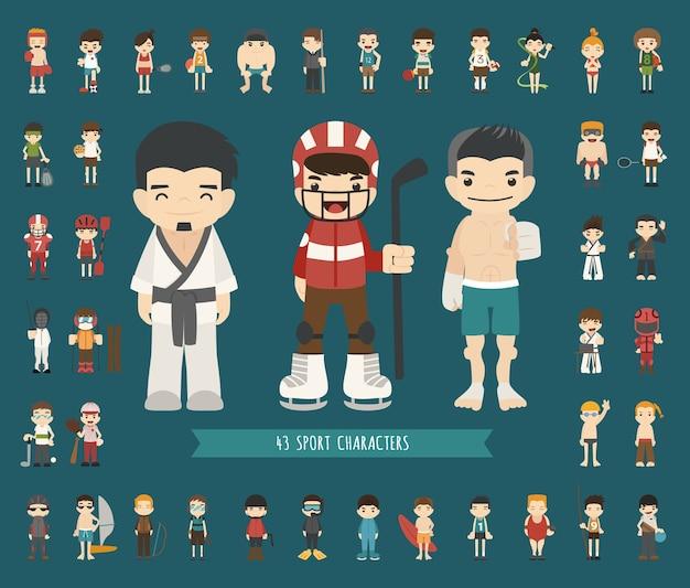 Набор из 43 спортивных персонажей Premium векторы