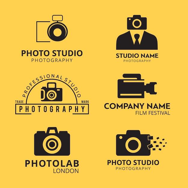 Набор из 6 векторных черно-белых значков для фотографов на желтом фоне Бесплатные векторы
