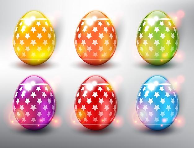 Набор из 6 цветных пасхальных яиц. яркие цветные пасхальные яйца со звездами. изолированный на белой панели. Premium векторы