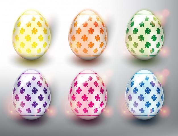 Набор из 6 цветных пасхальных яиц. пастельные цвета пасхальных яиц. изолированный на белой панели. Premium векторы