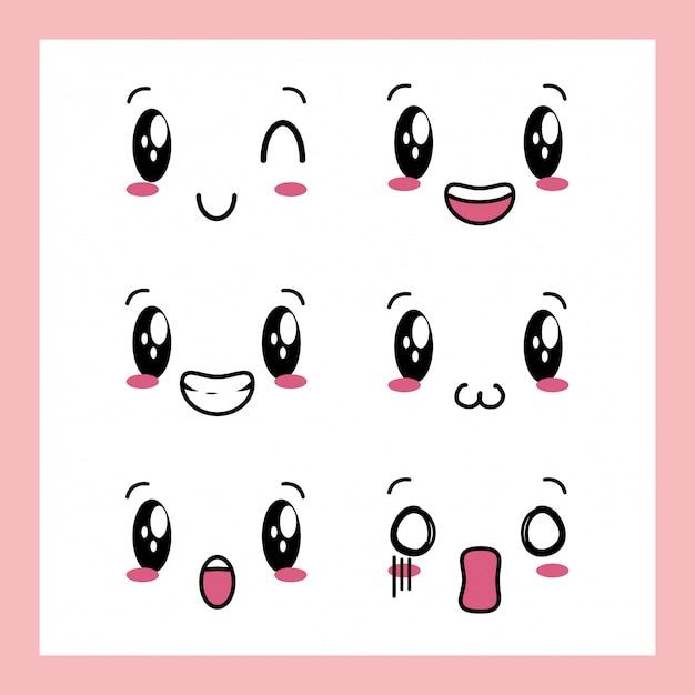 Набор из 6 дизайнов выражений каваи Бесплатные векторы